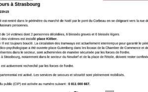 Strasbourg : 2 morts et 11 blessés à proximité du Marché de Noêl