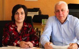 La conseillère exécutive en charge de l'enseignement secondaire, Josepha Giacometti, et le conseiller exécutif en charge de la langue corse, Saveriu Luciani.