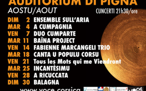 Le programme du mois d'août à l'Auditorium de Pigna
