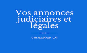 Les annonces judiciaires et légales de CNI : CAPRICCIU