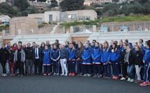Visite du chantier du stade de Rugby de Lumio pour l'équipe de France féminine