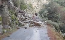 Corte : Éboulement sur la route de la Restonica