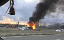 Ajaccio : Voiture en feu sur la quatre voies