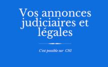 Les annonces judiciaires et légales sur CNI