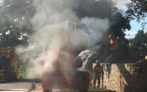 Porto-Vecchio : Un engin de chantier en feu sur la route de Muratello