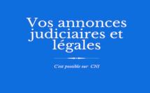Les annonces judiciaires et légales de CNI : B&L.