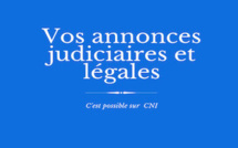Les annonces judiciaires et légales de CNI : VICTORIA