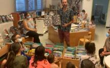 Matthias Picard lors de son atelier avec une classe de CE1.